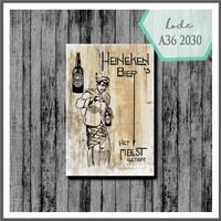 Wall decor vintage poster kayu pajangan dinding cafe Heineken