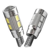 Lampu LED T10 CANBUS 5630 5730 10 Mata SMD Aluminium Lensa PROYEKTOR