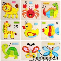 AUS Mainan Jigsaw Puzzle Kayu Gambar Kartun Hewan untuk Edukasi Anak