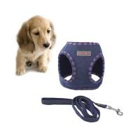 Set Rompi Harness Tali Tuntun Anjing Bahan Jeans Lembut Gaya Koboi