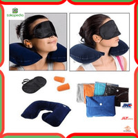 Bantal Leher + Tas cloth bag travel pillow set penutup mata telinga