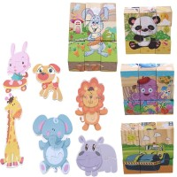 Mainan Puzzle Jigsaw Kayu 6 Sisi Gambar Kartun Hewan untuk Edukasi