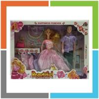 HT082 mainan anak perempuan boneka barbie pasangan couple baju pesta