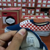 Sepatu Vans Authentic Motif Catur Checker Board Blue Red 50th