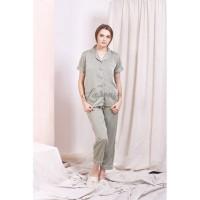 Piyama Satin Premium Olive Celana Panjang Baju Tidur Hijau Muda Cewek
