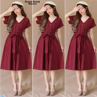 Midi Dress Sonia /Dress Wanita Murah