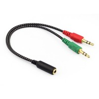 High Quality Kabel AUX Audio 3.5mm Female ke 2 x 3.5mm Male Hitam