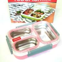 Lunch Box Kotak Makan - Tedemei -Stainless Steel Anti Tumpah BPA free
