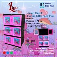 Lemari Plastik 3 Susun Little Pony LIGO (Pink, Merah, Biru, dan Hijau) - Merah Muda