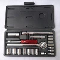 "Kunci Sok Set KTP 21 pcs/Socket Wrench Set 1/4 - 3/8"" inch"