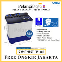 AQUA Mesin Cuci 2 Tabung Hijab Series Air Dry Spin 14 KG - QW-P1450T