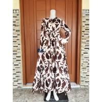 Gamis Batik Wanita Modern Murah Busui Zipper Depan Tali Samping
