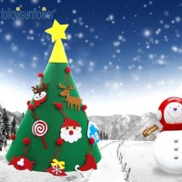 Homfoღdiy DIY Ornamen Gantungan Pintu dengan Gambar Pohon Natal 3D