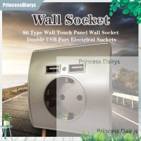 Termurah 86 Type Wall Touch Panel Wall Socket Double USB