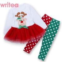 Tema Natal Setelan Kaos T-Shirt Anak Perempuan Lengan Panjang +