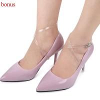 1 Pasang Tali Sepatu High Heels Elastis Transparan Detacheable