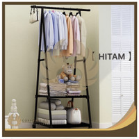 Triangle Stand Hanger Rak Buku Pakaian Serbaguna Dengan 4 Roda - Hitam