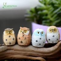 LY 4Pcs/lot Christmas Gift Lovely Miniature Play Set Resin Mini Owl