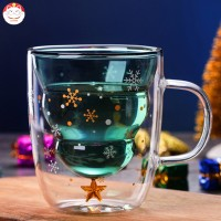 Christmas Tree Event Cup Star Water Double-Layer Glass Mugs for