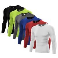 Kaos T-Shirt Compression Lengan Panjang Bahan Breathable untuk Gym /