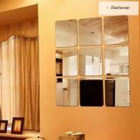 Stiker Dinding Cermin Bentuk Kotak dengan Perekat untuk Ruang Tamu /