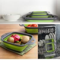 2PCS set Baskom Lipat Tempat Cuci Buah Beras Sayuran Mangkok Mangkuk