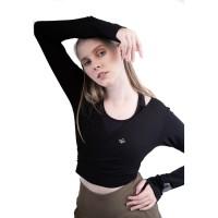 Baju Olahraga, Fitflo Activewear, Tencel, Layana Wrap Top Hitam