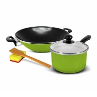 KUKINA Wajan Ceria Enamel 35cm & Saucepan 18cm - Green