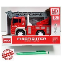 Toys City Service Firefighter Friction Powered Fire Engine Ladder Truk