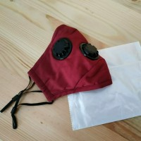 Masker PM 2.5 Triple Valve (3 Katup) Incld 2 Pcs Filter PM 2.5 - Red