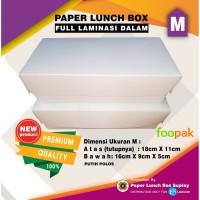 PAPER LUNCH BOX UK.M BAHAN FOOD GRADE Foopak 262 Gr Laminasi Mate