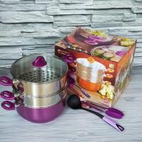 Vip' Panci Tim Susun 3 Cookware Set / Panci Steamer / Panci Kukus 28Cm