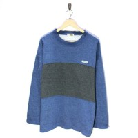 [L] Vtg Lacoste Two Tone Crewneck Sweater Original Blue Grey Vintage