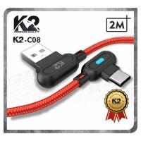 [GROSIR] Kabel Data GAMING LED 2M K2-C08 K2 PREMIUM QUALITY TYPE C