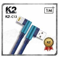 [GROSIR] Kabel Data GAMING DENIM 1M K2-C13 K2 Premium Quality IPHONE
