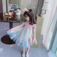 DRESS KOREA WARNA RAINBOW/ PELANGI ANAK PEREMPUAN IMPORT - 120, Pink Rainbow