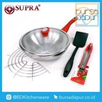Supra Stainless Steel Stir Wok 28 cm (Set 5 Pcs) / Wajan Stainless Set