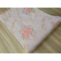 Wallpaper Vinyl Shabby Chic Klasik Baby Pink Timbul Bertekstur 10m