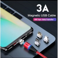 3A fast charging magnetic cable 3in1 adriond iphone kabel casan magnet - micro usb