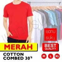 Kaos Polos Lengan Pendek / Kaos Merah - Cotton Combed 30s-Best Quality