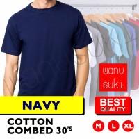 Kaos Polos Lengan Pendek / Biru Navy - Cotton Combed 30s-Best Quality