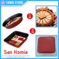 1 Set Loyang Kue Anti Lengket Kotak + Teflon Bulat San Homie