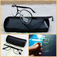 kacamata minus frame oval besi lensa supersin