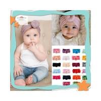 Baby Girl Nylon Turban Headwraps Round Knot Headbands Bow Turban Headb