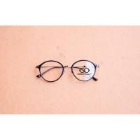 Frame kacamata oval/ frame KUSHUKA BLACK SILVER