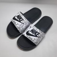 Sandal Nike grade ori Hitam Animasi sendal slide pria wanita - 39