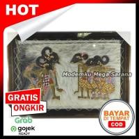 Lukisan Wayang Kulit Pendawa Lima Kulit Kambing Ukuran 70x50 cm