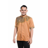 Baju Koko Lengan pendek Bordir Kualitas Premium TN 901 Kuning Mas
