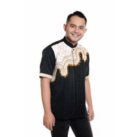 Baju Koko Lengan pendek Bordir Kualitas Premium TN 901 Hitam