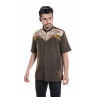 Baju Koko Lengan pendek Bordir 3D Kualitas Premium TN 910 COKLAT